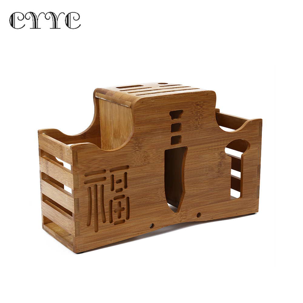 CYYC Multifunction Bamboo Holder Knife Rack Kitchen Accessory Bamboo Rack  Chopping Blocks Fork Wood Knife Holder Kitchen Tool