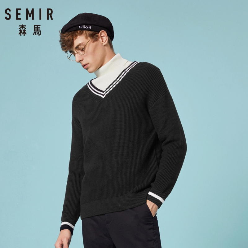 SEMIR 2019 Men Fashion 3 Colors Sweater Men Leisure Slim Pull Homme V-Neck Long-Sleeved Sweater Solid Clothes