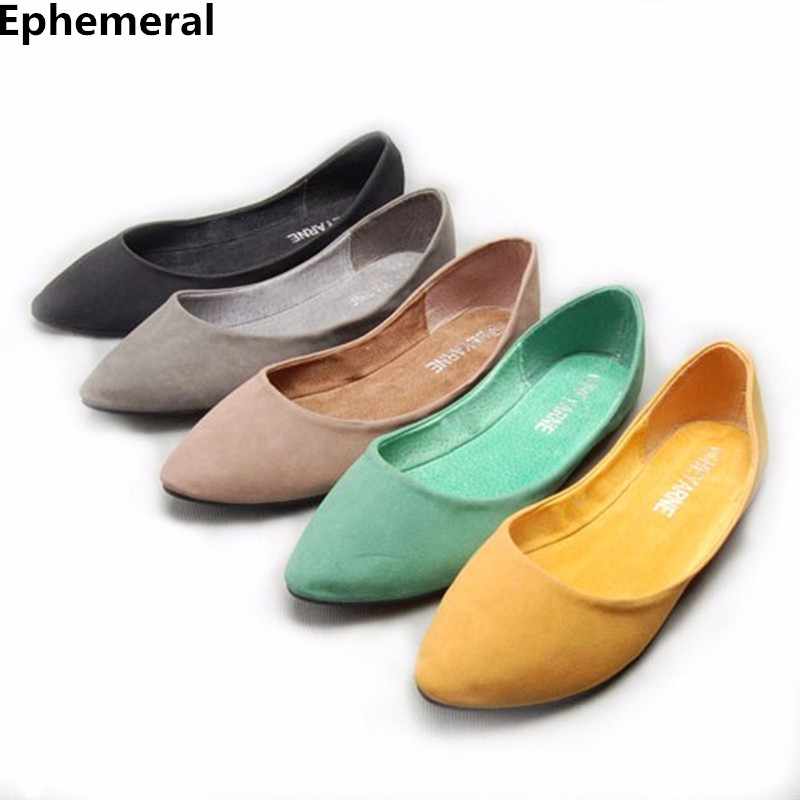 Lady Cheap Candy color Western Larger size(4 15)pointed closed toe cover heels Flattie Women single Ballerina shoes summer style