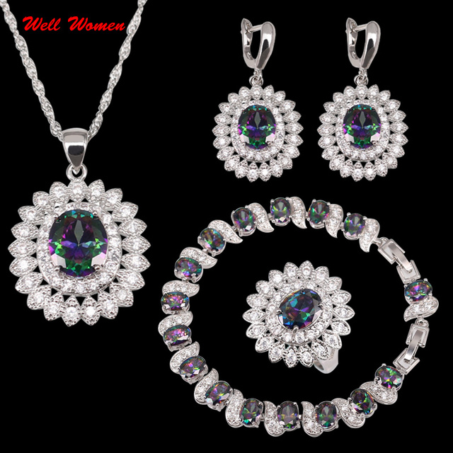 925 Stamp Fire Rainbow Jewelry Set Zircon Silver Color Bracelets/Necklace/Earrings/Pendant/Rings jsb03-011