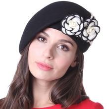 Free Shipping Women Hats Beret Hats Black Felt Hats For Women Ladies Chapeau 100% Wool  Rose