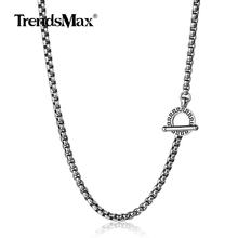 Stainless Steel Necklace for Mens Womens Charm Chains Necklace 4mm Box Link Choker Collares Jewelry Surfer 18-36inch TNS002(China)