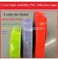 2.5 cm de fita pvc reflexivo fluorescência amarela de Segurança de alta visibilidade Fita de Advertência DO PVC Costura em Roupas/Bolsas/Caps Esporte ao ar livre