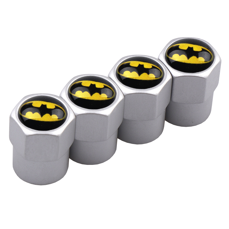 Image 3 - 4Pcs/Set Aluminum Car Tire Valve Caps Batman Emblem Logo Car Styling Tyre Stems Air Caps Auto Wheel Car Styling Accessories-in Nuts & Bolts from Automobiles & Motorcycles