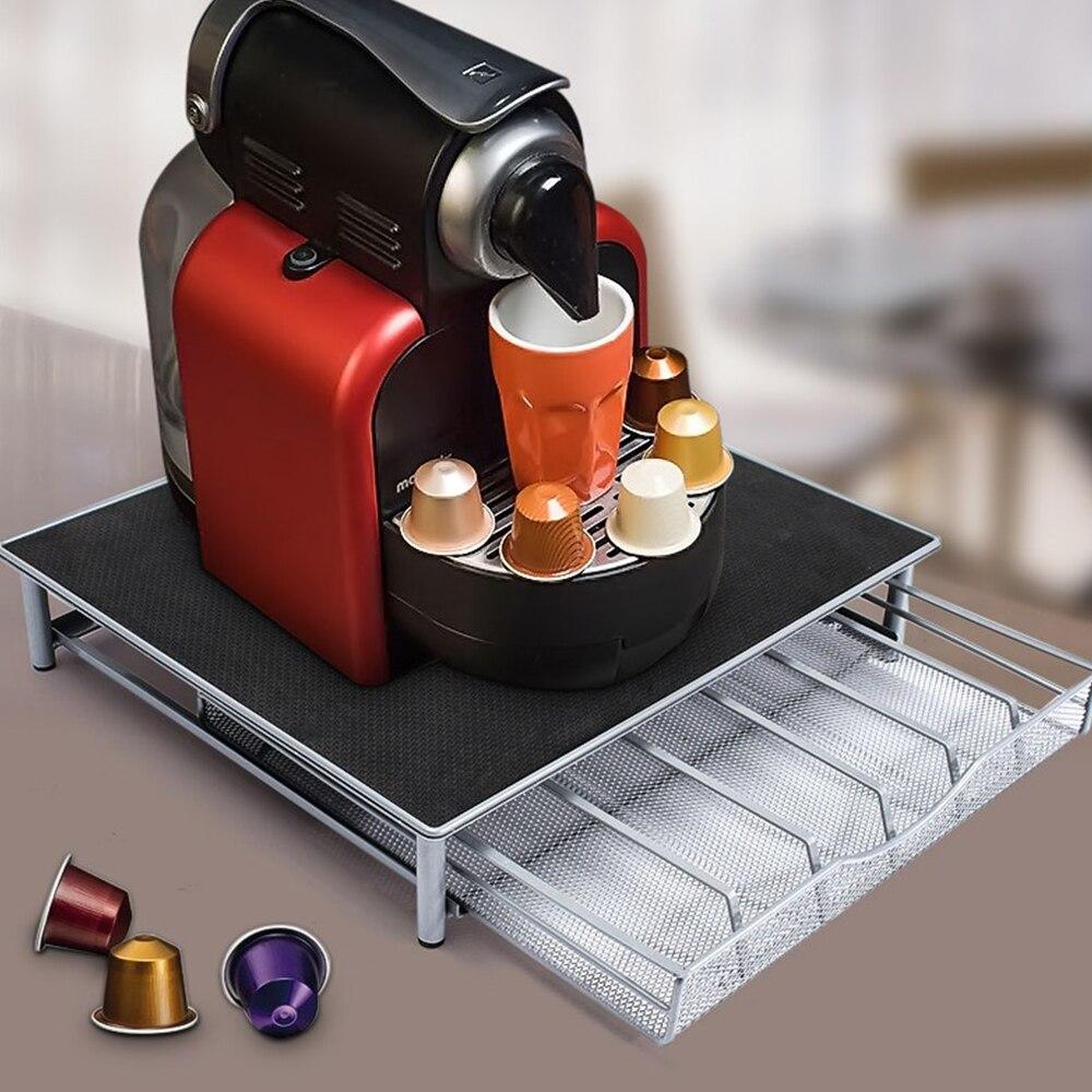 حامل قاعدة لماكينة القهوة درج تخزين كبسولات القهوة أدراج منظم حامل رف أدراج من الفولاذ المقاوم للصدأ