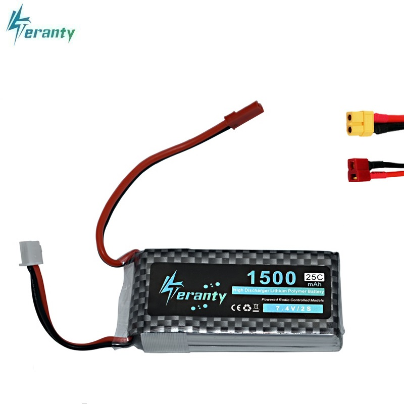High Rate 7.4V 1500mAh Lipo Battery For RC Helicopter Parts 2s Lithium Battery 7.4 V 25C Airplanes Battery With JST/T/XT60 Plug