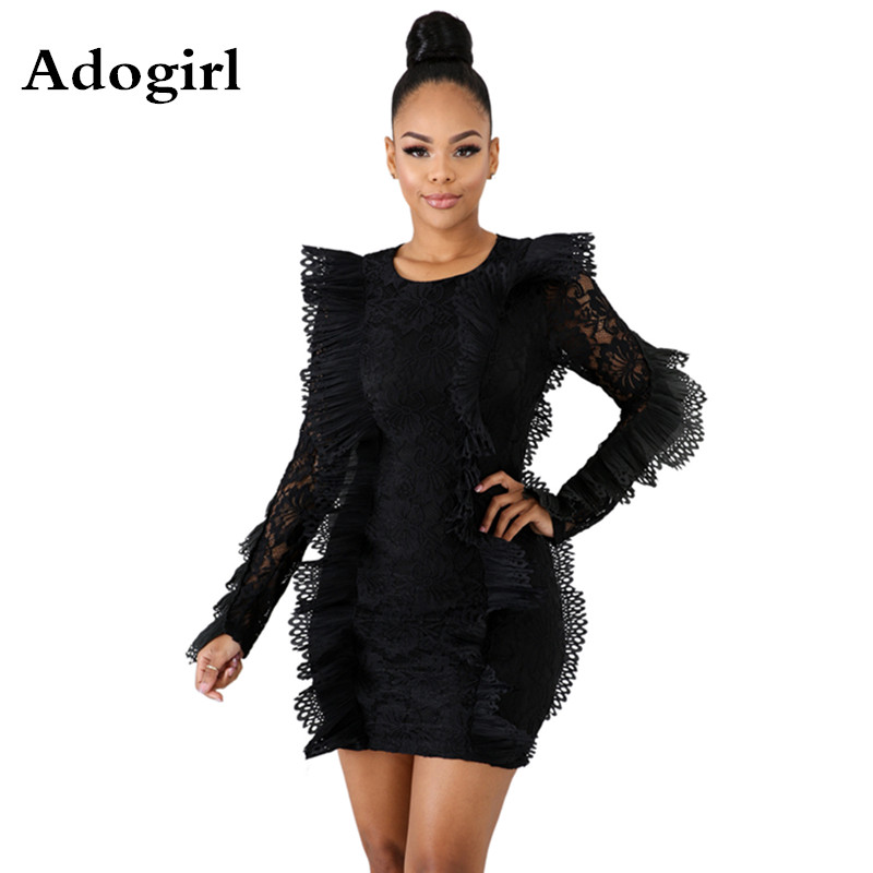 Butterfly Sleeve Lace See Through Mini Dress Bodycon Dress