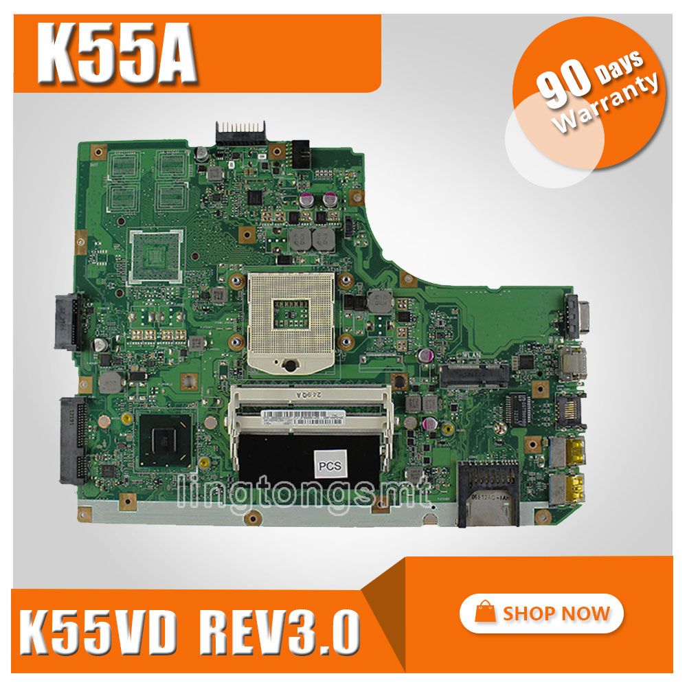 Original for ASUS K55A Motherboard K55VD Rev 3.0 Mainboard HD Graphics 4000  HM76 Chipset 100% Tested k75de motherboard qml70 la8371p rev 1a mainboard hd 7670 1g socket fs1 100% test