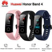 Originale Huawei Honor Fascia 4 Intelligente Wristband Amoled di Colore 0.95 Touchscreen di Nuotata Postura di Rilevare la Frequenza Cardiaca di Sonno A Scatto per xiaomi