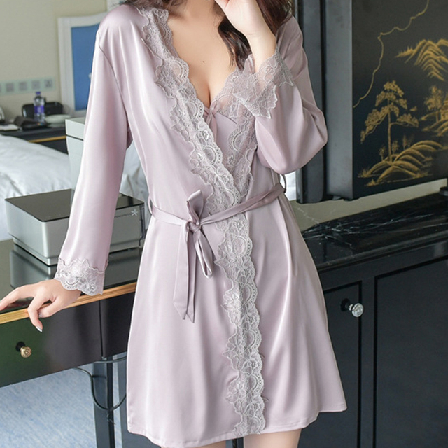 1620 Women s Satin Silk Woman Lace Robe Female Lace Bathrobe Womens Robes  Sleepwear Ladies Sexy Robe For Women Drop Shipping 2146d11ac