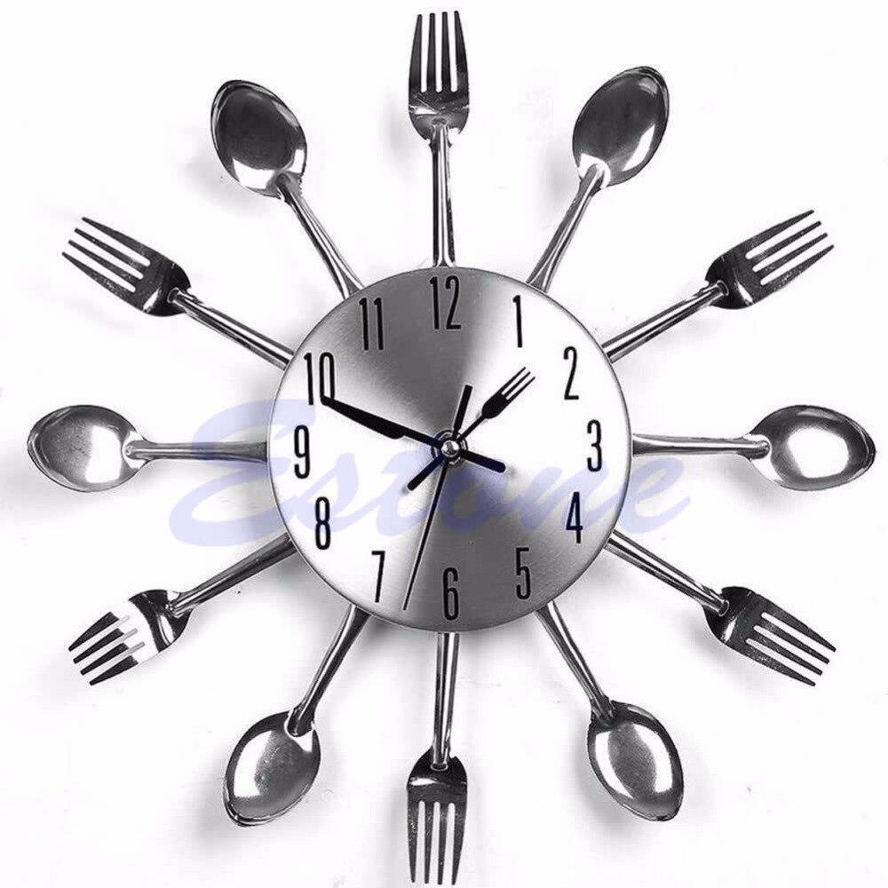nuovo design moderno posate utensile da cucina orologio da parete cucchiaio forchetta clock sliverchina