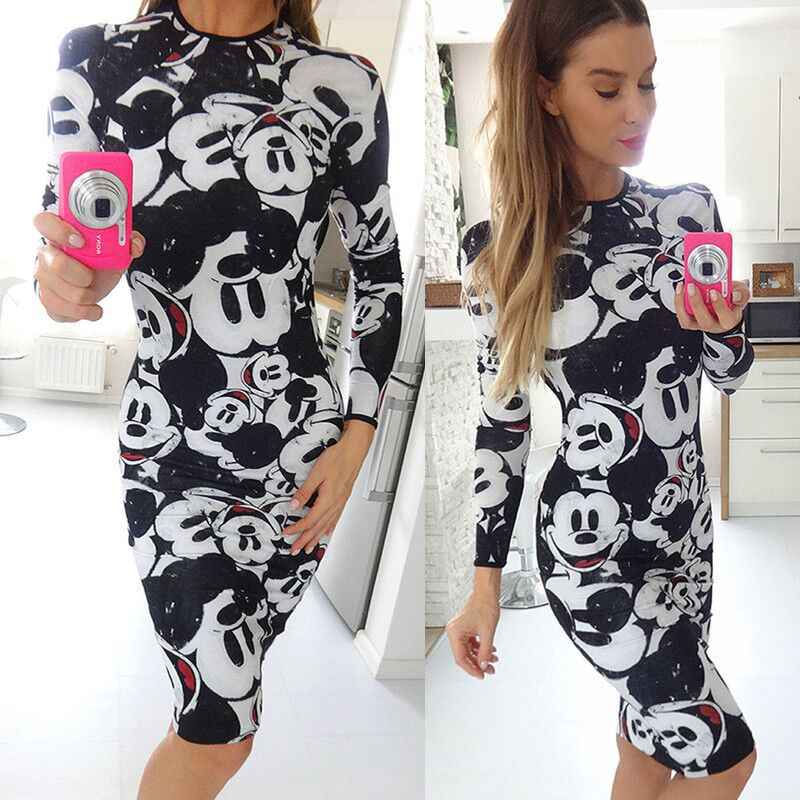 Minnie Mickey Mous Women Cartoon Bodycon Backless Back Open Dress Female Miki Clothes Clothing Birthday Party Dress 2019