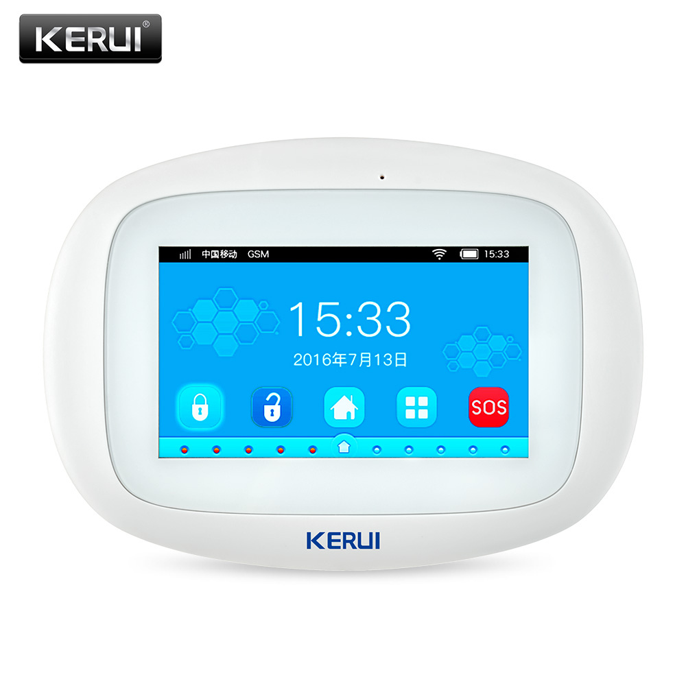 KERUI K52 4.3Inch Color Display Touch Screen WiFi GSM Multiple Pattern Burglar Home Security Alarm Control Host English Language