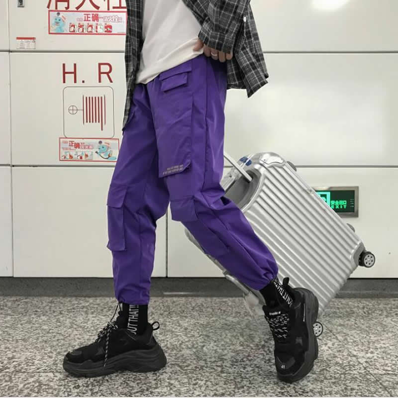 Men Purple Joggers Pants 2019 Mens Pockets Streetwear Cargo Pants Male Hip Hop Korean Fashions Casual Overalls Men Trousers