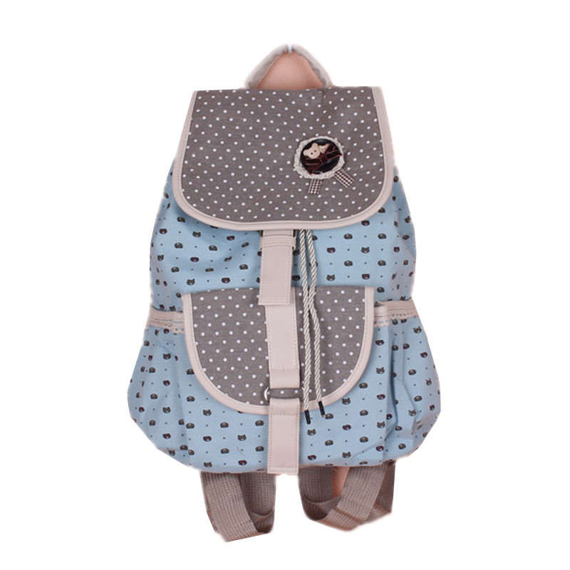 Belle ours bande dessinée coton toile femmes impression sac à dos sac d'école sac à dos moraillon cordon fermeture 40*34 cm