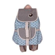 Симпатичный медведь мультфильм хлопок холст женщины печати рюкзак школьный мешок Рюкзак hasp шнурок закрытия 40*34 см