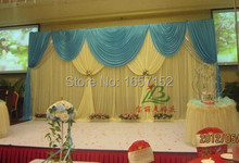 10ft 20ft Sky Blue Party Backdrop Wholesale Stage Decoration Party Backdrop Stage Backdrop with Detachable Swag