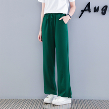 цена на Lacing Wide Leg Pants Women 2018 Autumn Winter Vintage Korean High Waist Pants Pockets Design Loose Long Pants Green Trousers