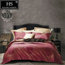 100 Percent Egyptian Cotton Bedding Set Jacquard Red Gold Beige 4Piece Bed Sheets Duvet Cover Set Pillowcase Queen King Size king size 400 thread count 100% egyptian cotton 16 deep pocket tailored bedskirt striped blood red created by pearl bedding