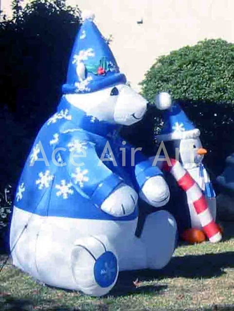 outdoor xmas inflatable sitting polar bear in nice cloth for decoration with a cane - Outdoor Polar Bear Christmas Decorations
