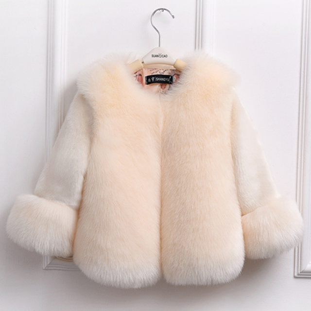 0c537e7ff Sunshine   Rainy Winter Girls Fur Coat Elegant Baby Girl Faux Fur ...