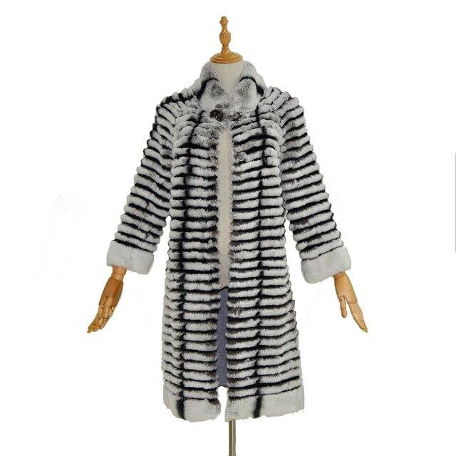 Real rabbit fur coat vest women spring and autumn long style collar three quarter fashion and slim fur .