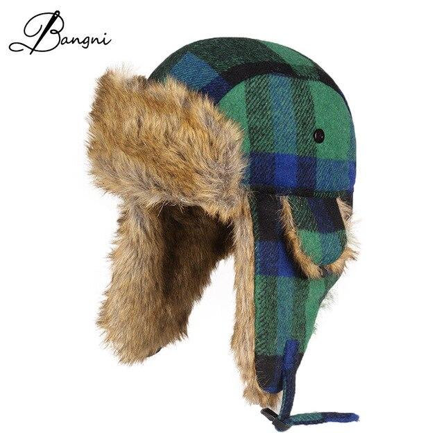 25526dbcb68 Wholesale Hot Sale Dad Bomber Hat Ushanka Russian Cap Fur Winter Hats  sports snow outdoor aviator ear flaps caps for men women