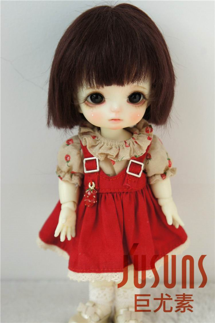 JD042 1/12 1/8 Korte Cut Mohair Pop Pruiken maat 4-5 inch 5-6 inch Modieuze BJD Pop Pruiken tiny pop pruik