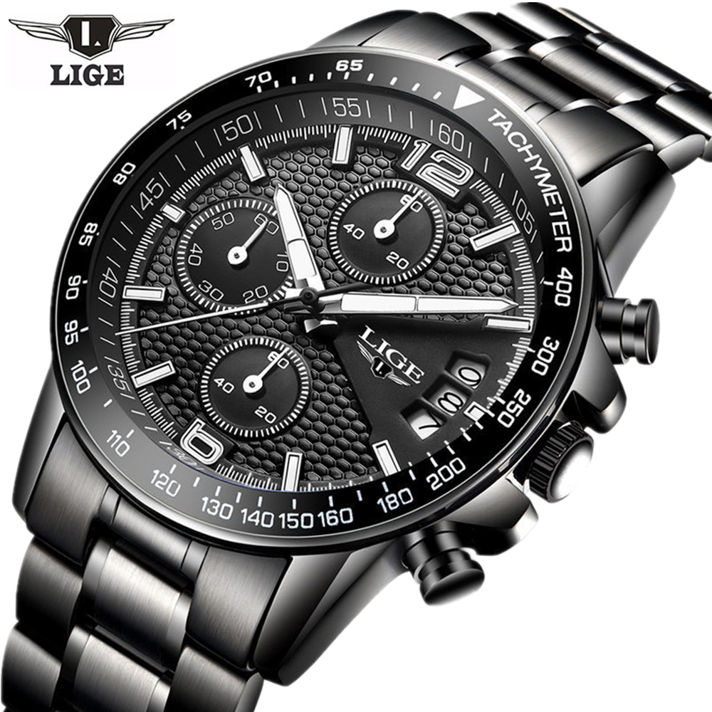 New Luxury brand LIGE watches business men watch sports fashion luminous waterproof Steel wristwatch free drop shipping 2017 newest europe hot sales fashion brand gt watch high quality men women gifts silicone sports wristwatch