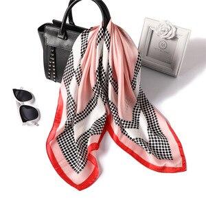 Image 3 - 女性ポルカドットプリントソフトハンドルバッグファム髪スカーフ教徒ヒジャーブヘッドバンドバンダナ正方形の絹のスカーフ70x70