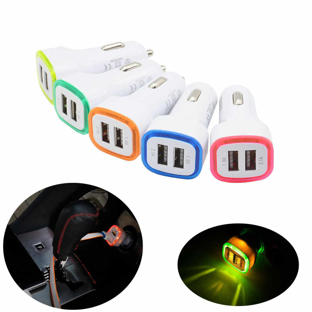 2.1A LED Dual USB Charger Mobil Universal 2 Port Cepat Pengisian Charger Adaptor Soket Rokok Lebih Ringan untuk Ponsel untuk Samsung mi