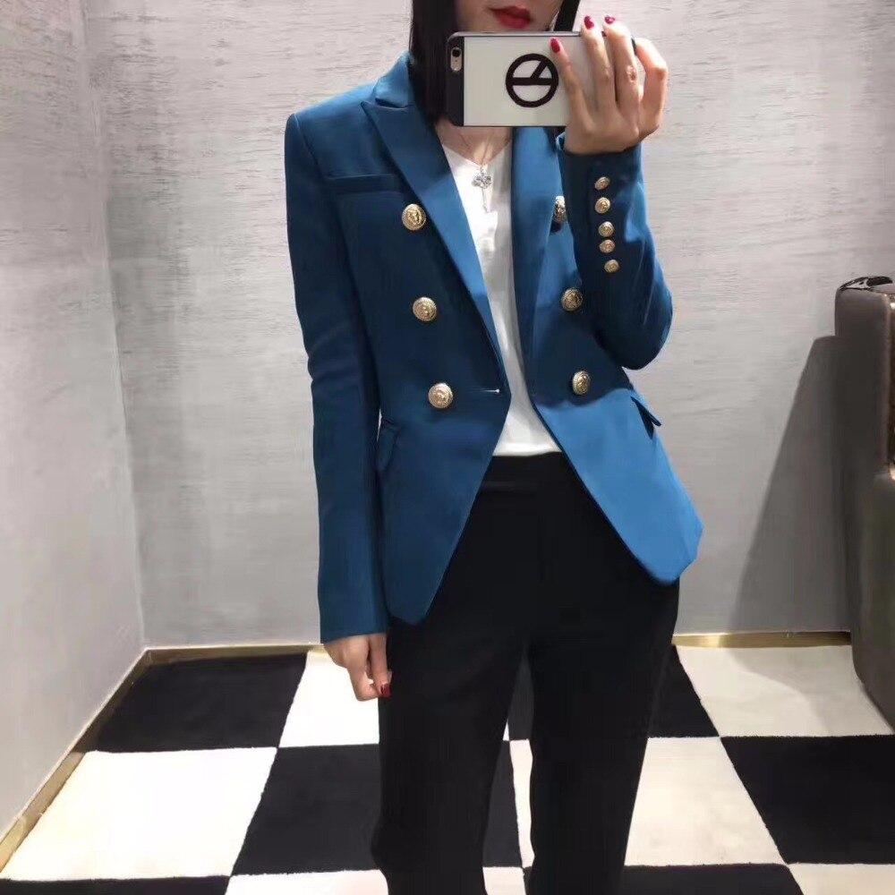 جديد مزدوج اعتلى المرأة أزياء ضئيلة سترة زرقاء أسود جودة عالية النساء قميص 2017 الخريف الشتاء جديد وصول