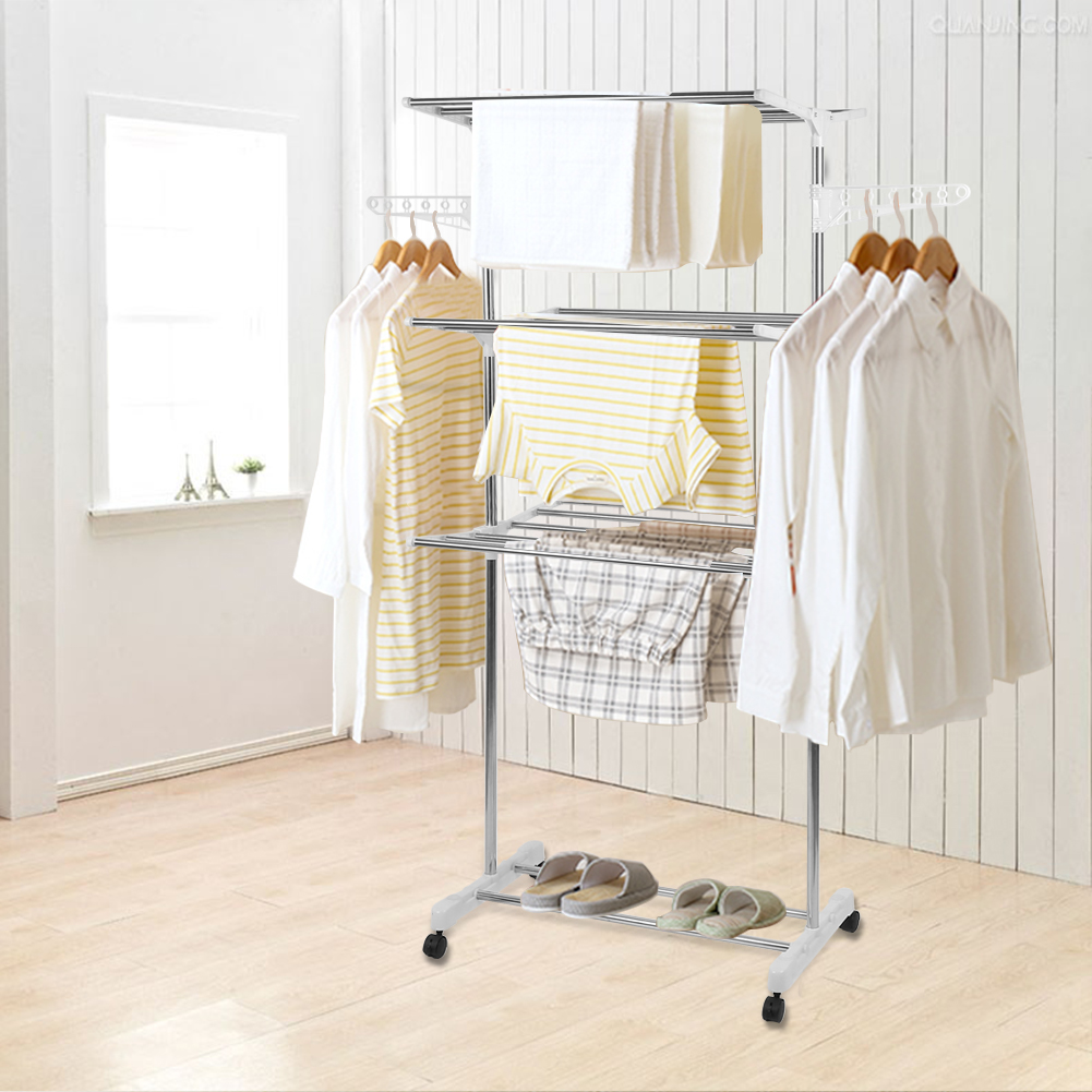 Stainless Steel Three-layer Foldable Hanger Clothes Drying Rack Household Clothes Shoes Movable Hanger Baby Clothes Hangers HWC