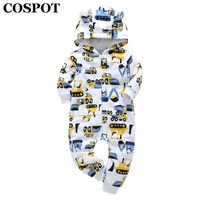 COSPOT 2018 New Newborn Hooded Fleece Jumpsuit Cartoon One Piece Long Sleeve Romper Bebes Baby Boy