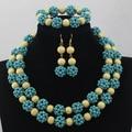 Marvelous Beads Africanos Joyería de la Boda de Color Azul Claro 2 Filas de la Turquesa Joyería Conjunto Bolas Nigeriano Collar Nupcial Conjunto ALJ1002