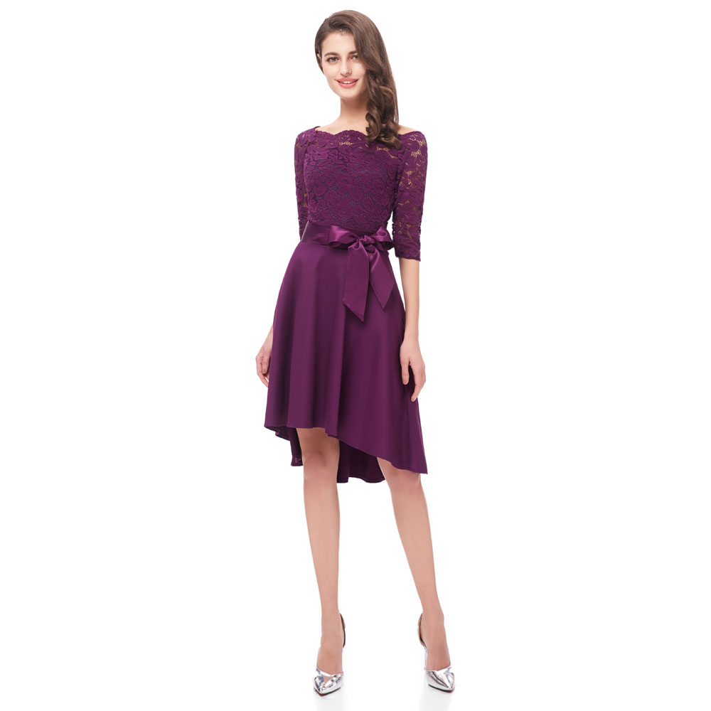 Beauty Emily Lace Purple Bridesmaid Dresses 2019 Short for Women A-Line Half Sleeve Wedding Party Prom Dresses