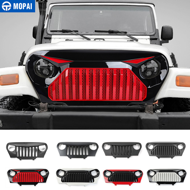 MOPAI Car Front Insert Racing Grille Cover Decoration Trim ABS Exterior  Accessories Styling For Jeep Wrangler