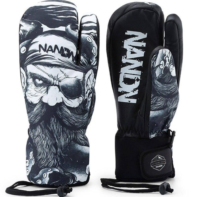 Hommes/femmes gants de Ski en cuir véritable mitaine imperméable à l'eau écran tactile gants de Snowboard hiver chaud polaire motoneige gants de moto
