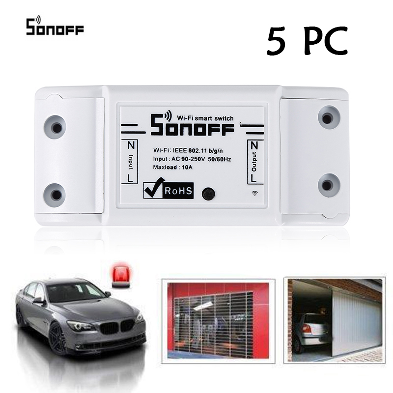 5PC SONOFF Basic Wireless Wifi Switch Remote Control Automation Module DIY Timer Universal Smart Home 10A 220V AC 90-250V HWC
