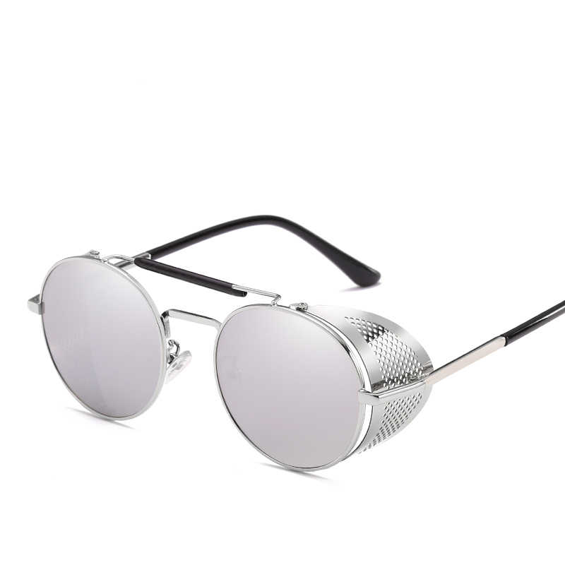 20aed20a82 ... Retro Round Metal Sunglasses Steampunk Men Women Fashion Glasses Brand  Designer Retro Vintage Sunglasses Oculos De ...