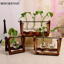 Террариум креативное гидропонное растение прозрачная ваза деревянная рамка ваза украшения стеклянная настольная растение бонсай Декор ваза для цветов