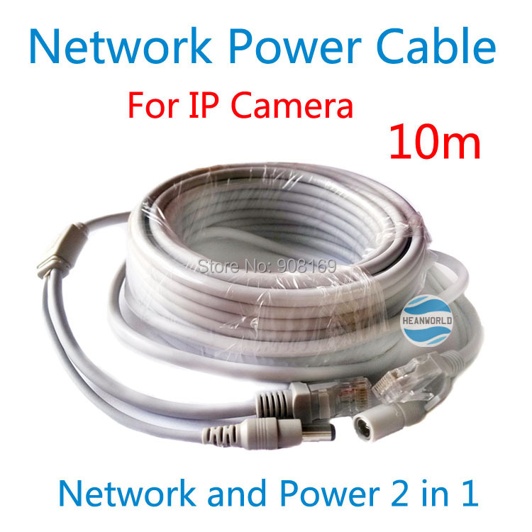Heanworld 10M DC Jack RJ45 Ethernet Port CCTV Camera Network Power Cable use for security IP camera cable power cable 2in1 power cable 20m 65ft rj45 ethernet port 2 in 1 power supply
