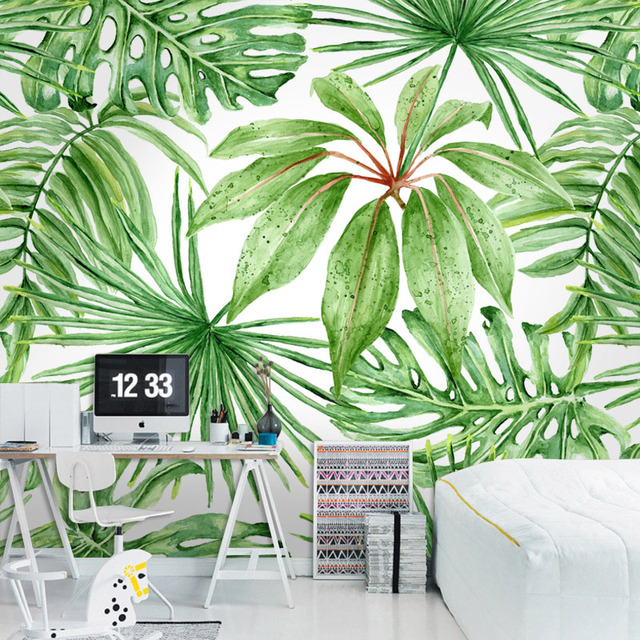 Green Tropical Leaves Poster Mural Wallpaper For Living Room Wall  Decoration Wholesale Free Shipping Discount Wallpapers
