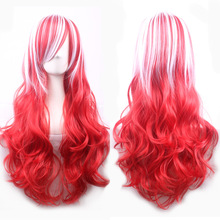 Fashion Cheap Long Wavy White Red Ombre Hair Synthetic Halloween Costume Anime Cosplay Wigs For Women + Wig Cap