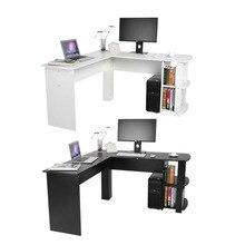 Офисный деревянный Офисный Компьютерный письменный стол домашний игровой ПК мебель l-образный угловой компьютерный стол с книжной полкой