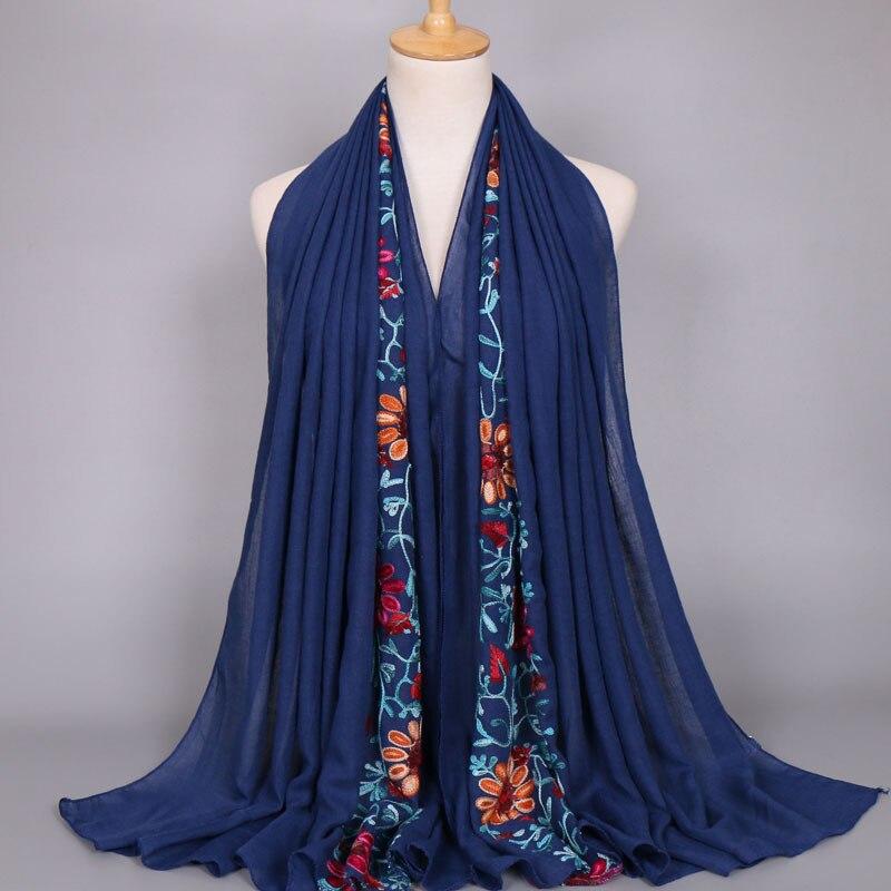 2019 Summer Fashion Embroider Viscose Scarf Women Plain Stitch Cotton Scarves Shawl Navy Blue Flower Sjaal Muslim Hijab Foulards