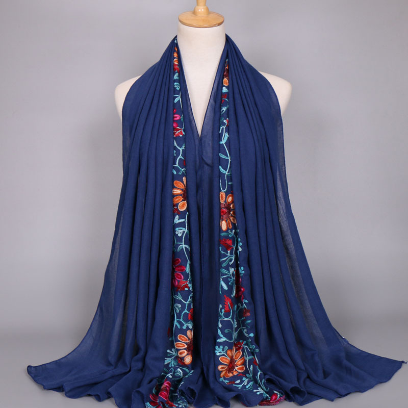 2019 Summer Fashion Embroider Viscose   Scarf   Women Plain Stitch Cotton   Scarves   Shawl Navy Blue Flower Sjaal Muslim Hijab Foulards