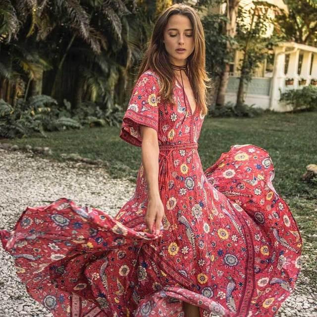 3ec5fa1556 Long Maxi Dresses Floral Print Vintage Boho Dress