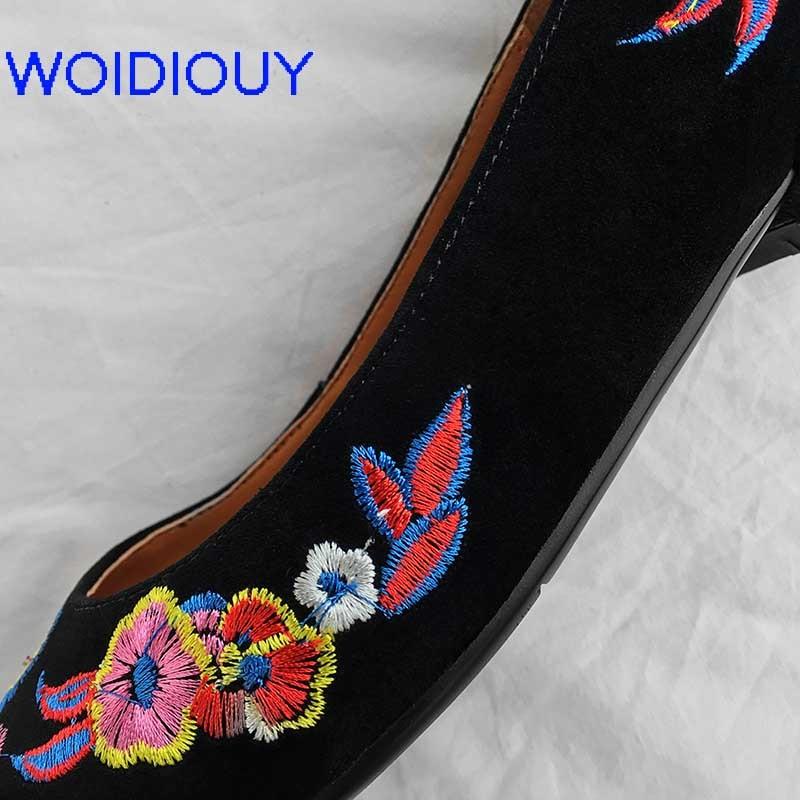 De Talon Broder d002 Dames Slip black Femmes Mzfy Cuir Pompes Brodé mzfy xde En Fleur xde Cristal Talons d002 Sur black Mariage Chaussures Haute Épais Pompe zAqnFP