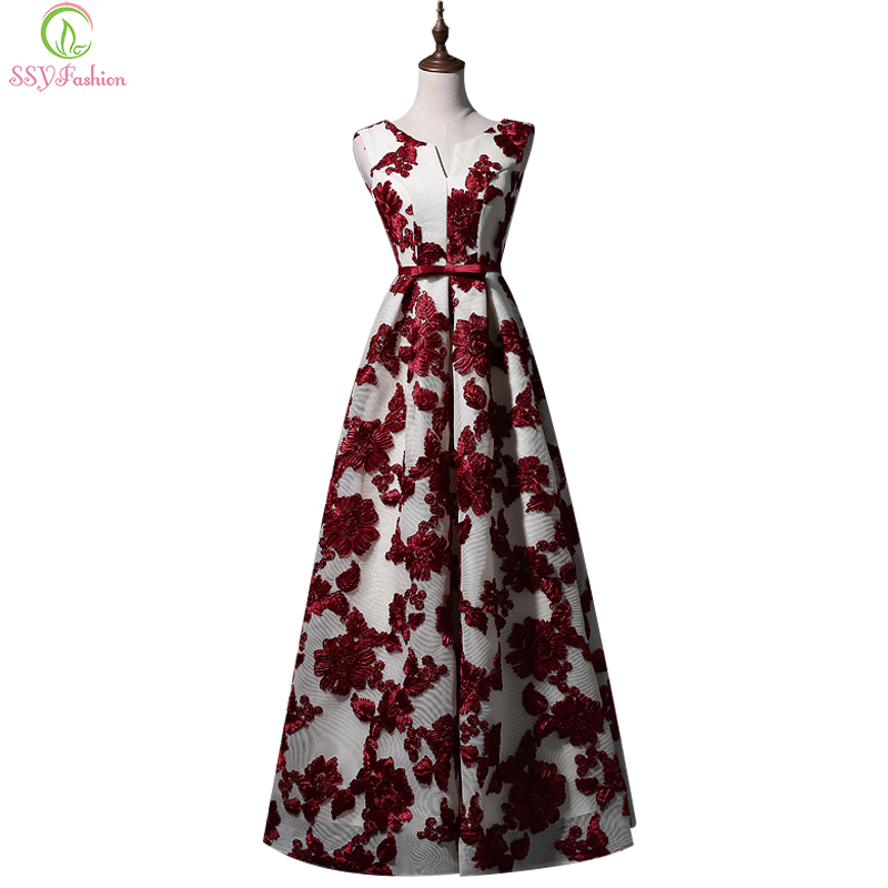 Ssyfashion new lace embroidery flower long evening dress